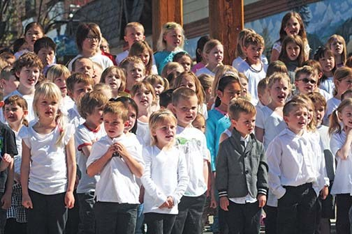 Kimberley's students sang in the Platzl on Monday.